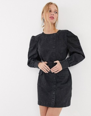 And other stories & puff sleeve button-detail denim mini dress in washed black