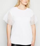 New Look Curves Spot Mesh Sleeve T-Shirt