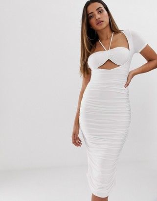Club L London ruched bra top midi dress with halterneck detail in white