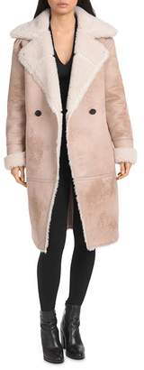 AVEC LES FILLES Faux Fur Long Biker Coat