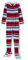 Classic Girls Fleece Footed Sleeper-Cool Blue Multi Stripe