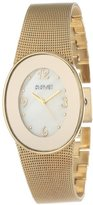 August Steiner Women's AS8053YG Quartz Oval Mesh Bracelet Watch