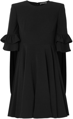 Alexander McQueen Cape-effect Ruffle-trimmed Crepe Mini Dress