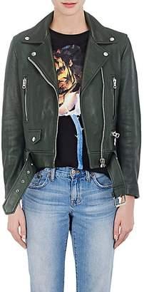 "Acne Studios Women's ""Mock"" Leather Moto Jacket - Olive"