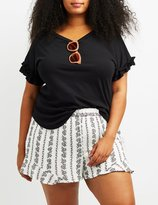 Charlotte Russe Plus Size Ruffle-Trim Tee