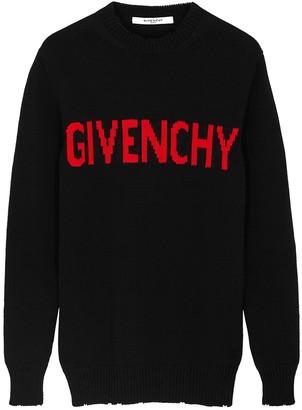 Givenchy Black Logo-intarsia Cotton Jumper