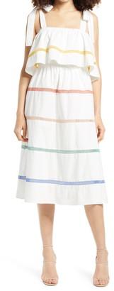 ENGLISH FACTORY Sleeveless Stripe Ruffle Dress