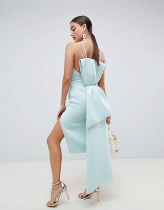 Asos Design DESIGN premium u bar bow back bodycon midi dress-Green