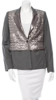 Elizabeth and James Structured Sequin Overlay Blazer w/ Tags