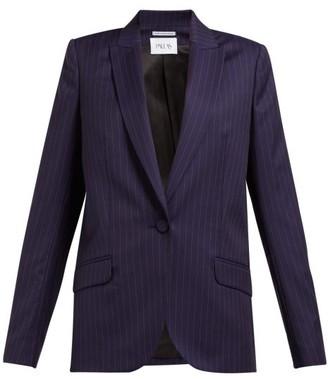 Pallas X Claire Thomson-jonville - Single-breasted Pinstripe Wool Jacket - Womens - Navy