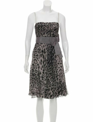 Dolce & Gabbana Animal Print Silk Dress w/ Tags Grey