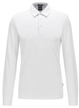 Long-sleeved slim-fit polo shirt in structured cotton