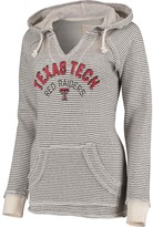 Unbranded Women's Blue 84 Cream Texas Tech Red Raiders Striped French Terry V-Neck Hoodie