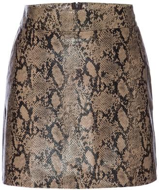 Frame Python Embossed Leather Mini Skirt
