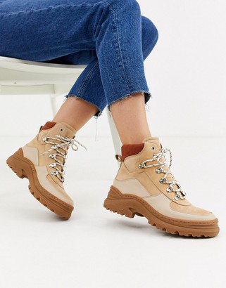 And other stories & lace-up hiking boots in beige