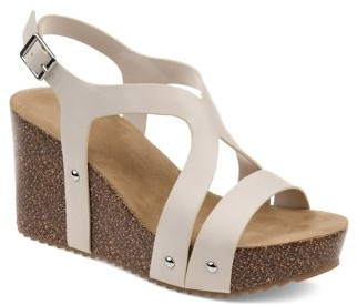 Brinley Co. Womens Faux Cork Strap Wedge Sandal