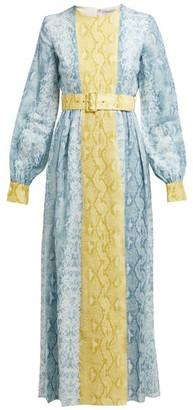 Emilia Wickstead Snakeskin-print Linen Dress - Womens - Blue Print