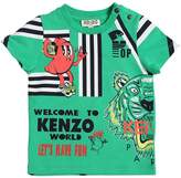 Kenzo Lion & Tiger Print Cotton Jersey T-Shirt