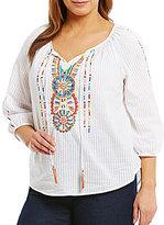 Intro Plus Tassel Tie-Neck Embroidered Peasant Top