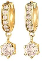 Goldhimmel Women 925 Sterling Silver Gold Plated Hoop Zirconia Earrings 0311540513