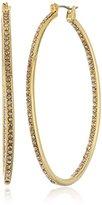 Diane von Furstenberg Pave Large Oval Gold Hoop Earring