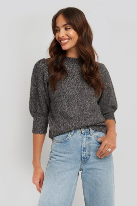 NA-KD Short Puff Sleeve Knitted Sweater Grey