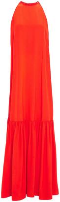 Tibi Gathered Silk Crepe De Chine Maxi Dress