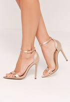 Missguided Satin Pointed Toe Barely There Heels Gold