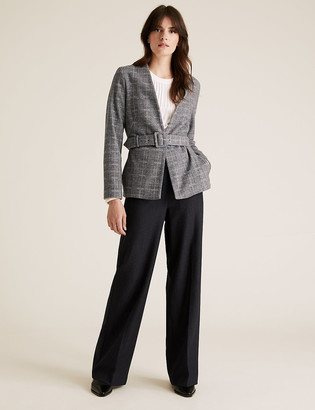 Marks and Spencer Jersey Slim Checked Belted Blazer