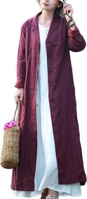 LZJN Women's Linen Long Lightweight Jacket Blazer with Chinese Frog Button and Belt (Purple M)