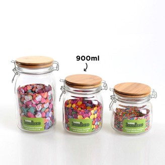 Scullery Bamboo & Glass Clip Canister 950ml