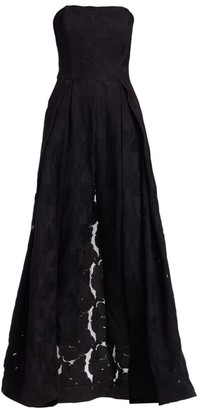 Halston Strapless Lace Jacquard Skirt Overlay Jumpsuit