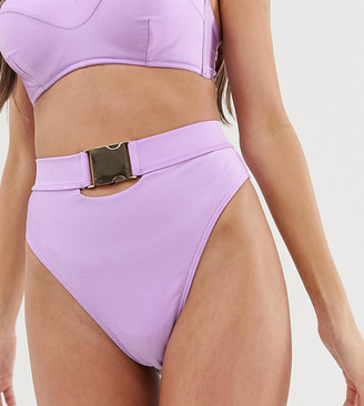 Wolfwhistle Wolf & Whistle Exclusive shiny high leg bikini bottom in lavender