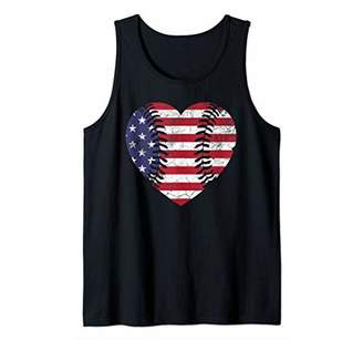 Fourth of July Mother's Day Gift Heart Baseball USA Flag Tank Top