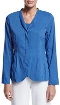 Eileen Fisher Shawl-Collar Peplum Jacket, Blue, Plus Size