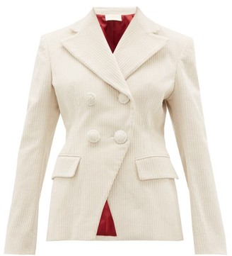 Sara Battaglia Double-breasted Cotton-blend Jumbo Corduroy Jacket - Womens - Cream