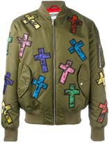Moschino cross patch bomber - men - Polyamide/Polyester/Polyurethane/Wool - 48
