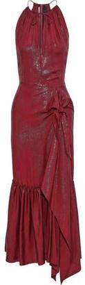 Roland Mouret Miranda Asymmetric Silk-blend Lame-jacquard Midi Dress