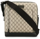 Gucci house pattern messenger bag - men - Leather - One Size
