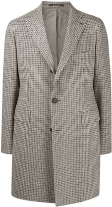 Tagliatore Single-Breasted Windowpane Print Coat