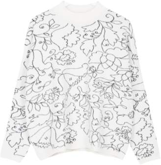 Maison Martin Morel - White Paula Pattern Galati Sweater - White/Black