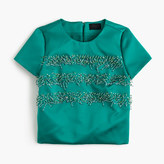 J.Crew Collection Italian satin embellished striped top