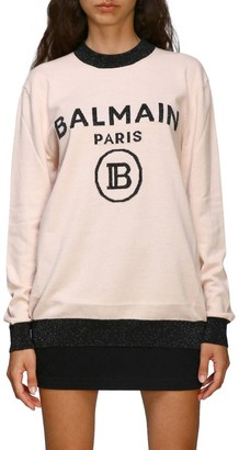 Balmain Sweater Crewneck Sweater With Maxi Logo
