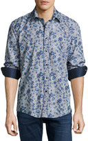 English Laundry Rose-Print Sport Shirt, Blue