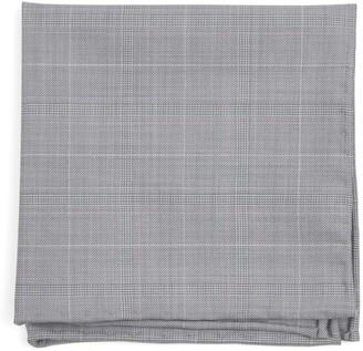 Tie Bar Neutral Streak Plaid Silver Pocket Square