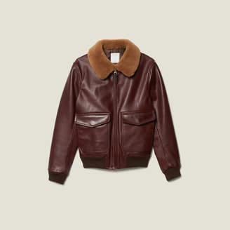 Sandro Leather Aviator Jacket With Sheepskin