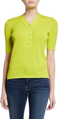Diane von Furstenberg Paley Ribbed Short-Sleeve Sweater