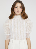 Alice + Olivia BRENNA LACE PUFF SLEEVE CROP TOP