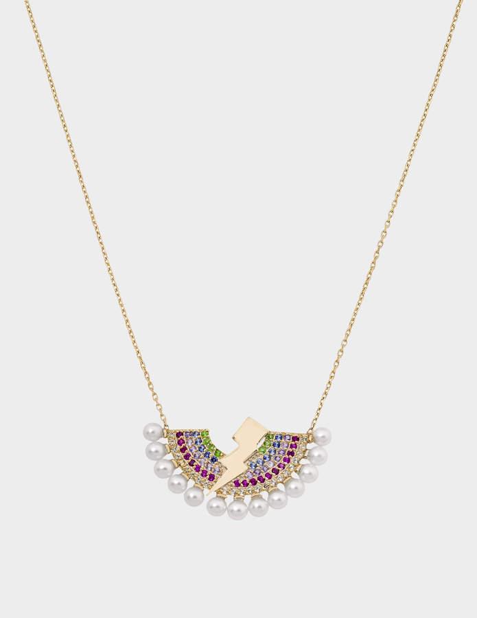 Anton Heunis Rainbow Lighting Bulb Necklace in 14K Gold and Precious Stones
