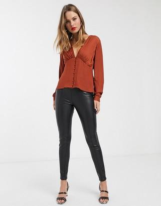 Vero Moda v neck blouse-Brown